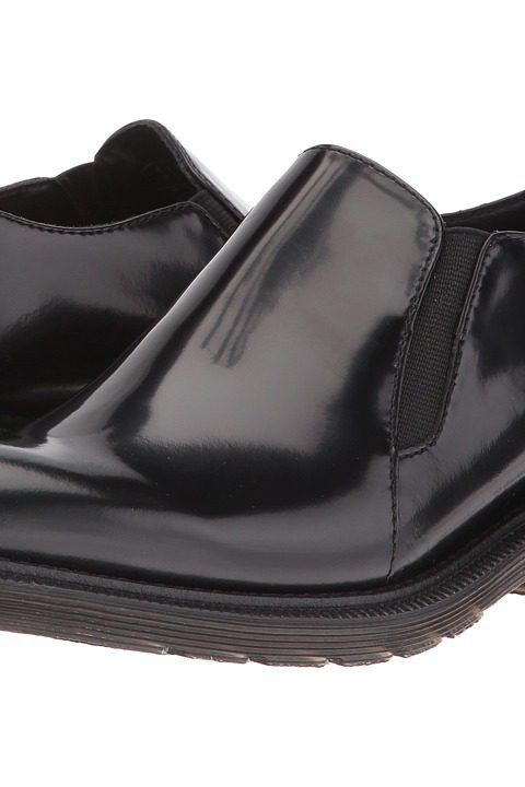 Dr. Martens Rosyna Double Gusset Shoe (Black Waxed Polished Smooth) Women's  Slip on
