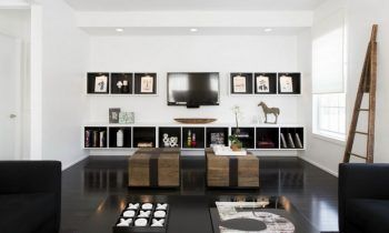salon noir et blanc design moderne-aménagement-symétrique ...