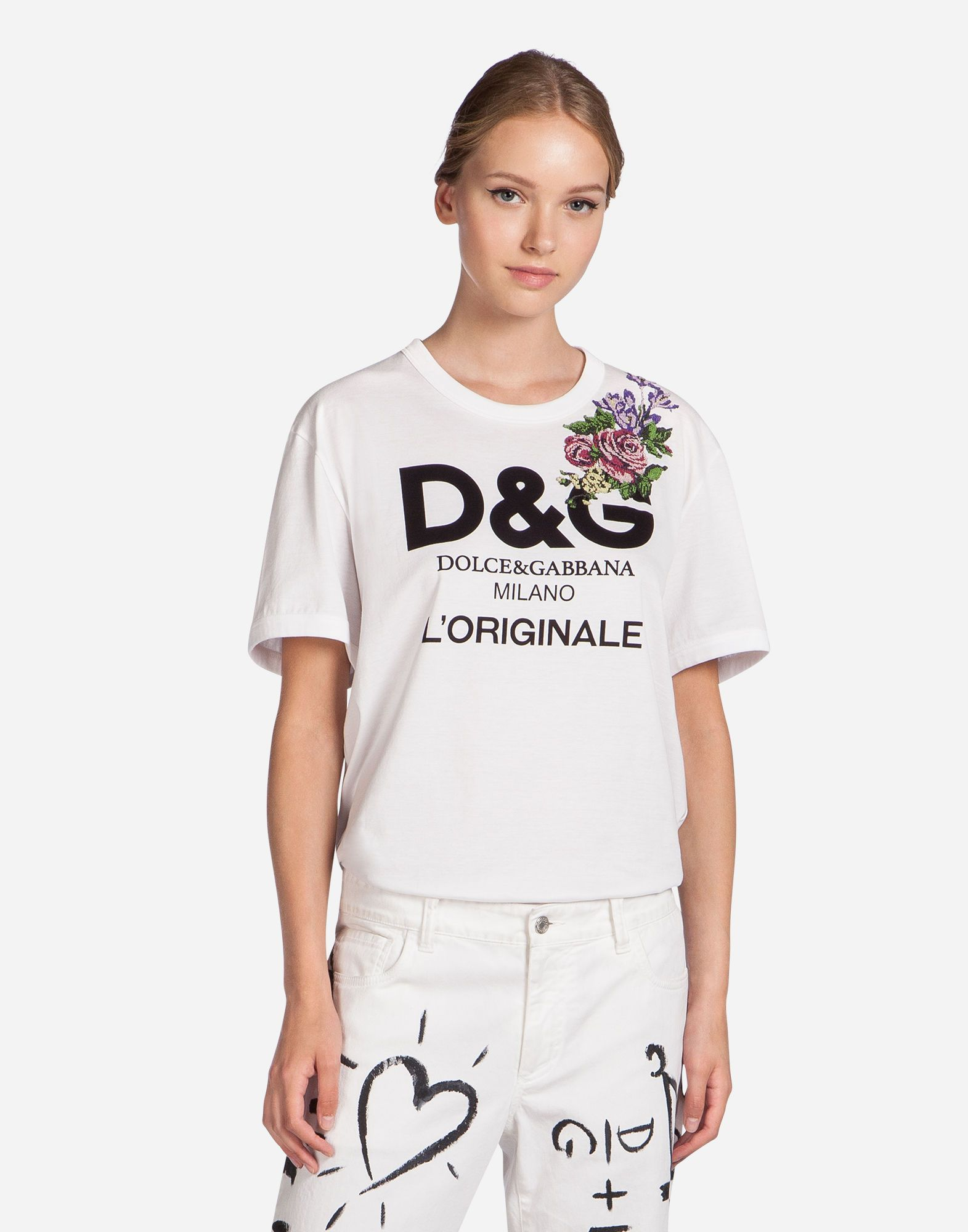 e1b280af90280 DOLCE   GABBANA Printed Cotton T-Shirt With Patch.  dolcegabbana  cloth