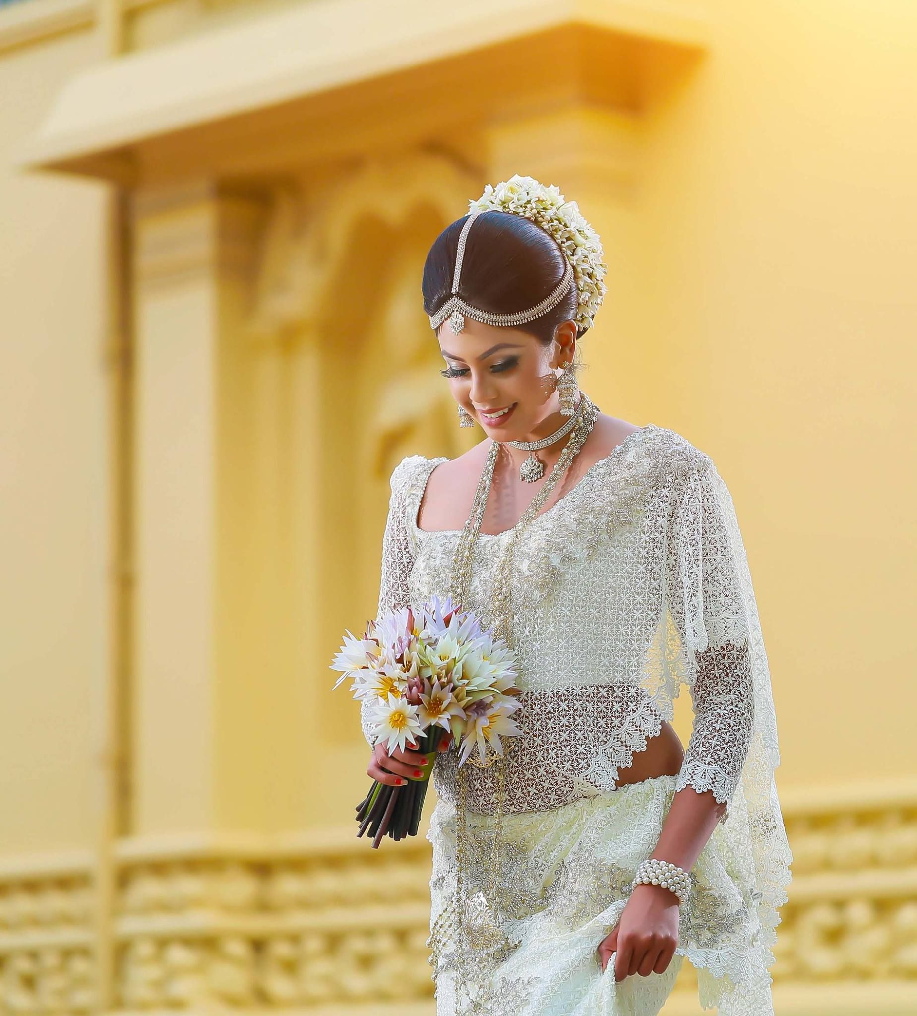Wedding Hairstyle In Sri Lanka: Dress By : Subash Bridal Sri Lanka