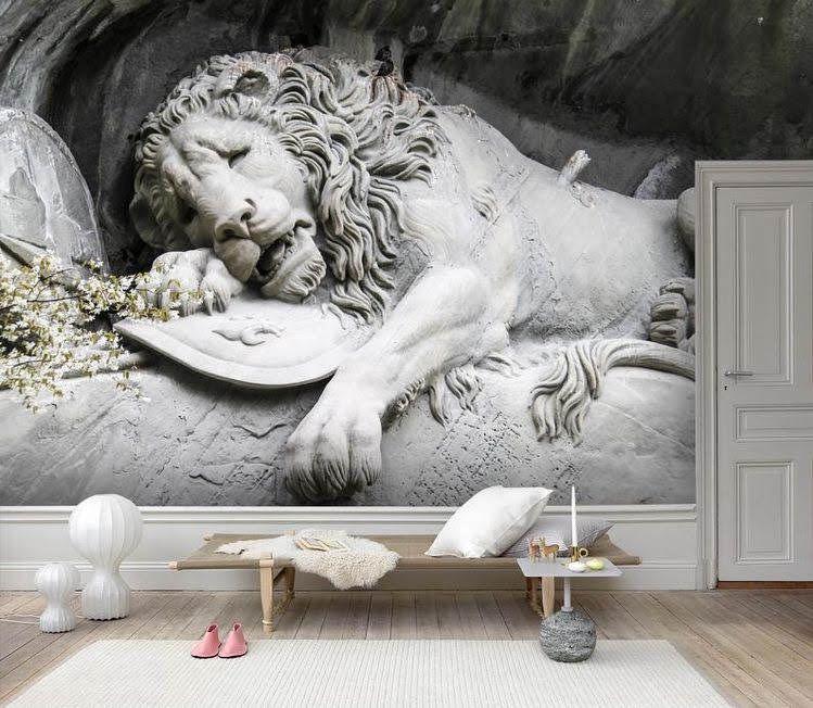 Custom Order Lion Vinyl Wallpaper Exclusive Design In 2020 Wall Art Wallpaper Lion Wallpaper Mural Wallpaper