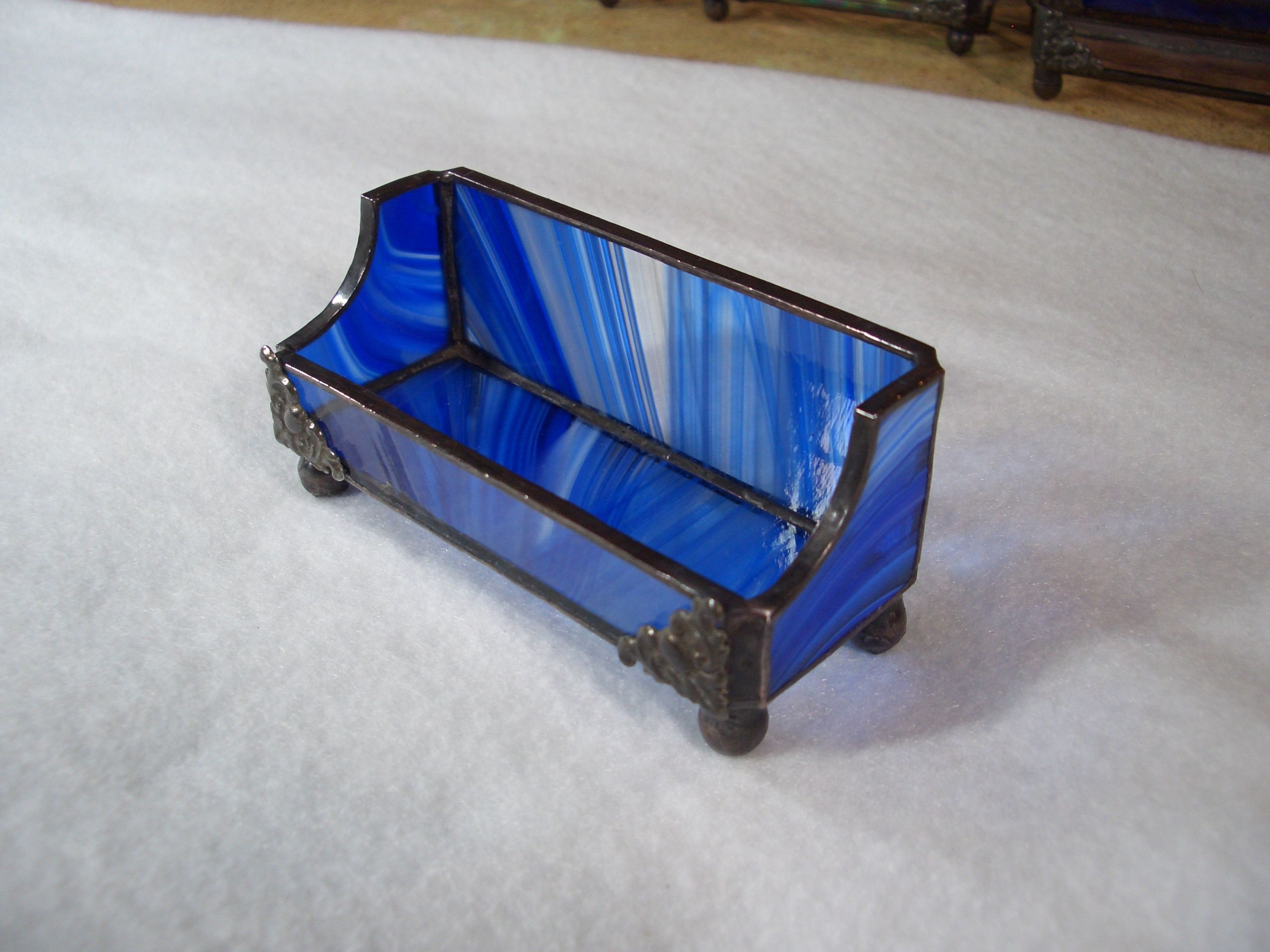 Blue Baroque Stained Glass Business Card Holder | AGA Stained Glass ...