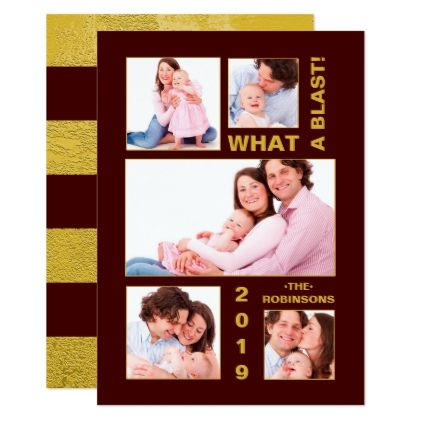 burgundy and gold family photo collage new year card christmas cards merry xmas diy cyo