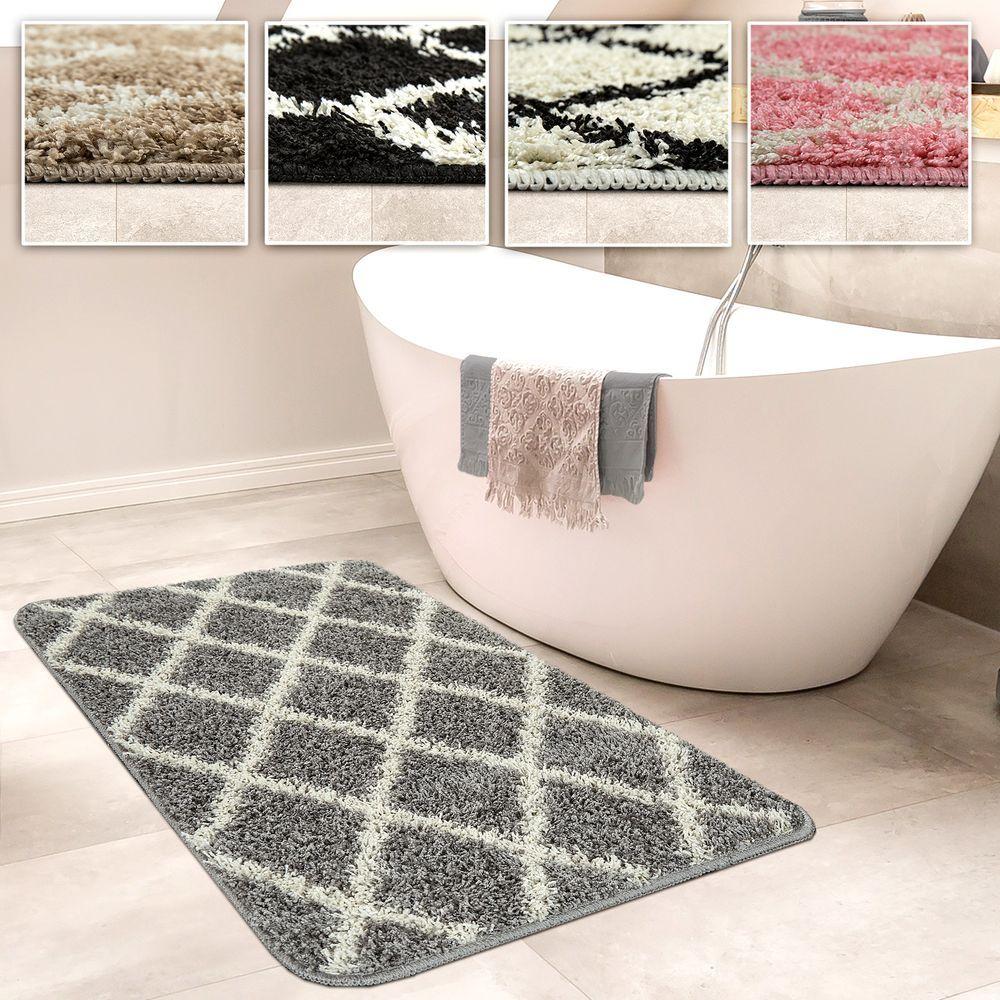 Badezimmer Teppich Rauten Versch Grossen U Farben Badteppich Badematten Teppich