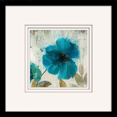 "Star Creations ""Teal Splash I"" by Asia Jensen Framed Painting Print"