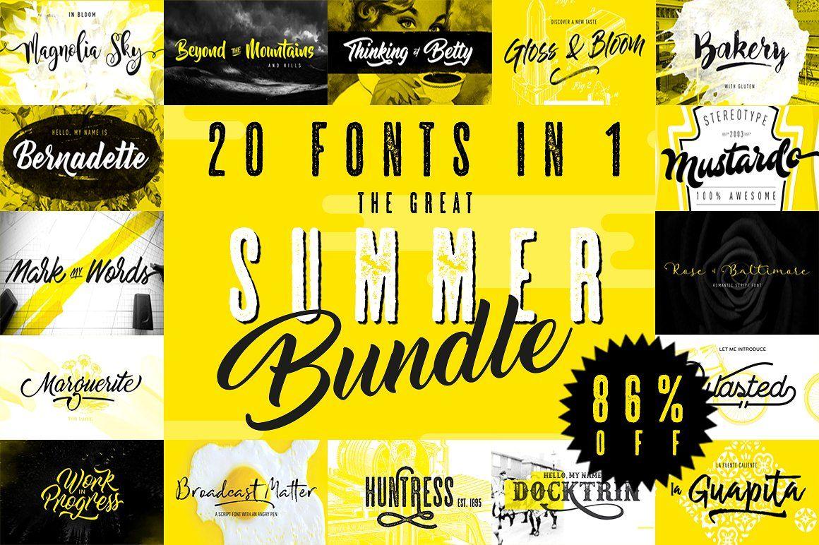 Download Summer Font Bundle - 20 fonts in 1 package. Includes bold ...