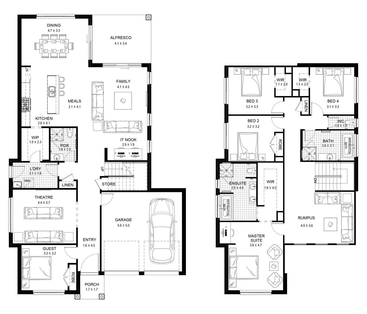 Mayfair 35 Double Level Floorplan By Kurmond Homes New Home Builders Sydney Nsw Double Storey House Plans Two Story House Plans Dream House Plans