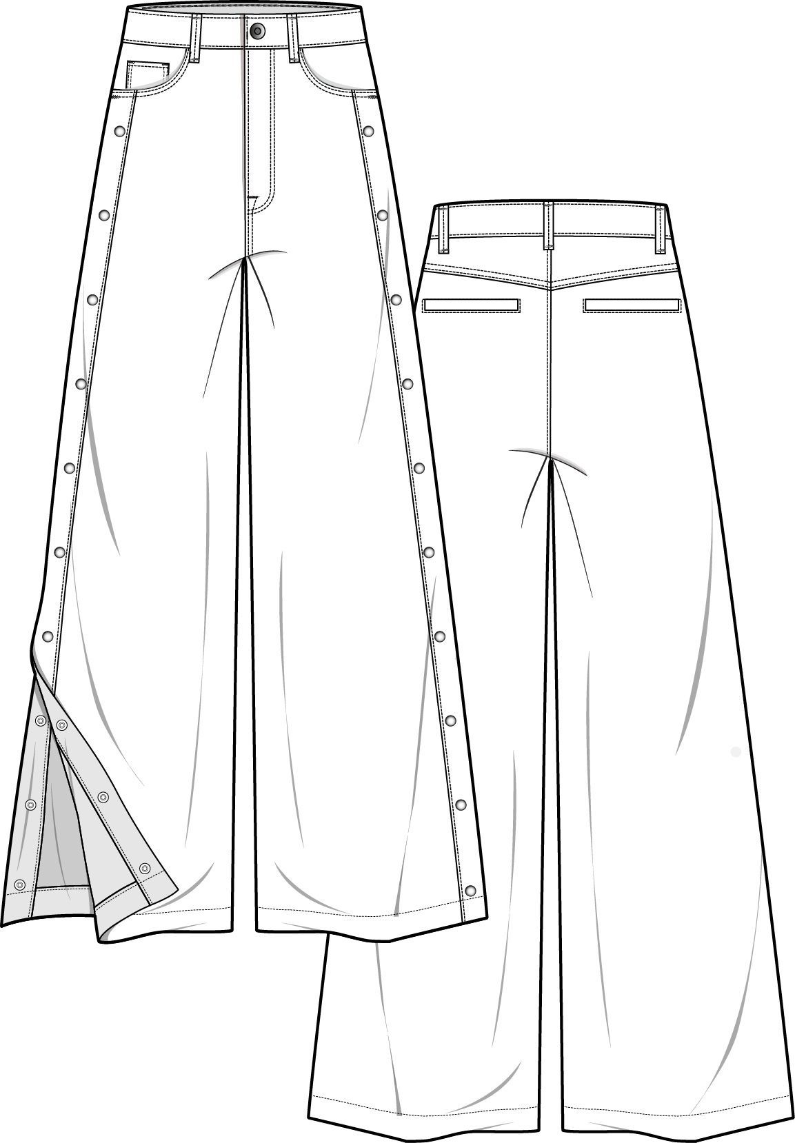 pants fashion flat technical drawing template