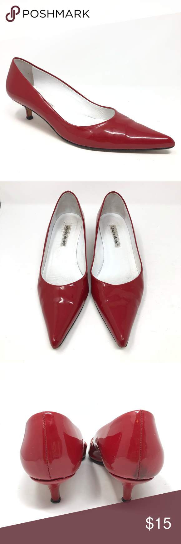 Charles David Red Kitten Heels Patent Leather 8 5 Fair Condition Small Kitten Heels Discoloration On Back Color Is A Bri Red Kitten Heels Kitten Heels Heels