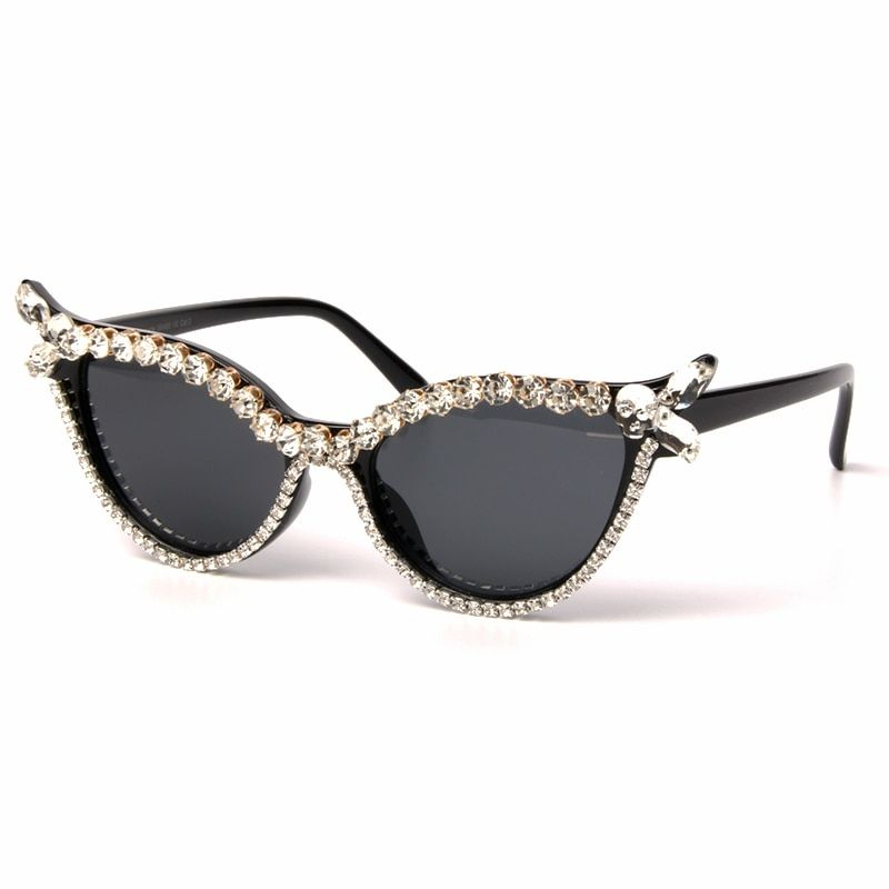 19af2e54352 Vintage Sunglasses Women Cat Eye Luxury Brand Designer Sun Glasses  Rhinestone Retro Small ladies Sunglasses Eyewear oculos