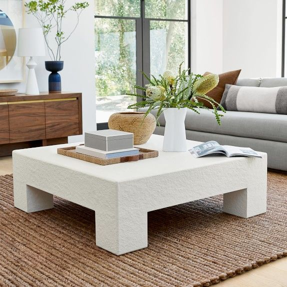 Matte White Square Coffee Table 48 Wood Matte White Gesso White William Square Coffee Table Decor White Coffee Table Living Room Living Room Coffee Table