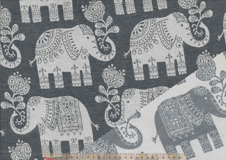 Elephant Fabric Upholstery Craft Quilting Panel Blended Tone Elephant