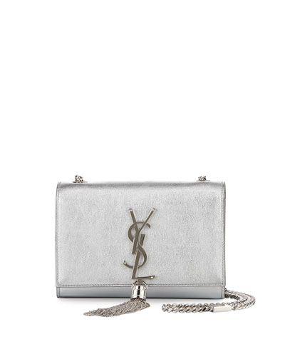 9b0b8bba V2W0B Saint Laurent Monogram Metallic Leather Crossbody Bag, Silver ...