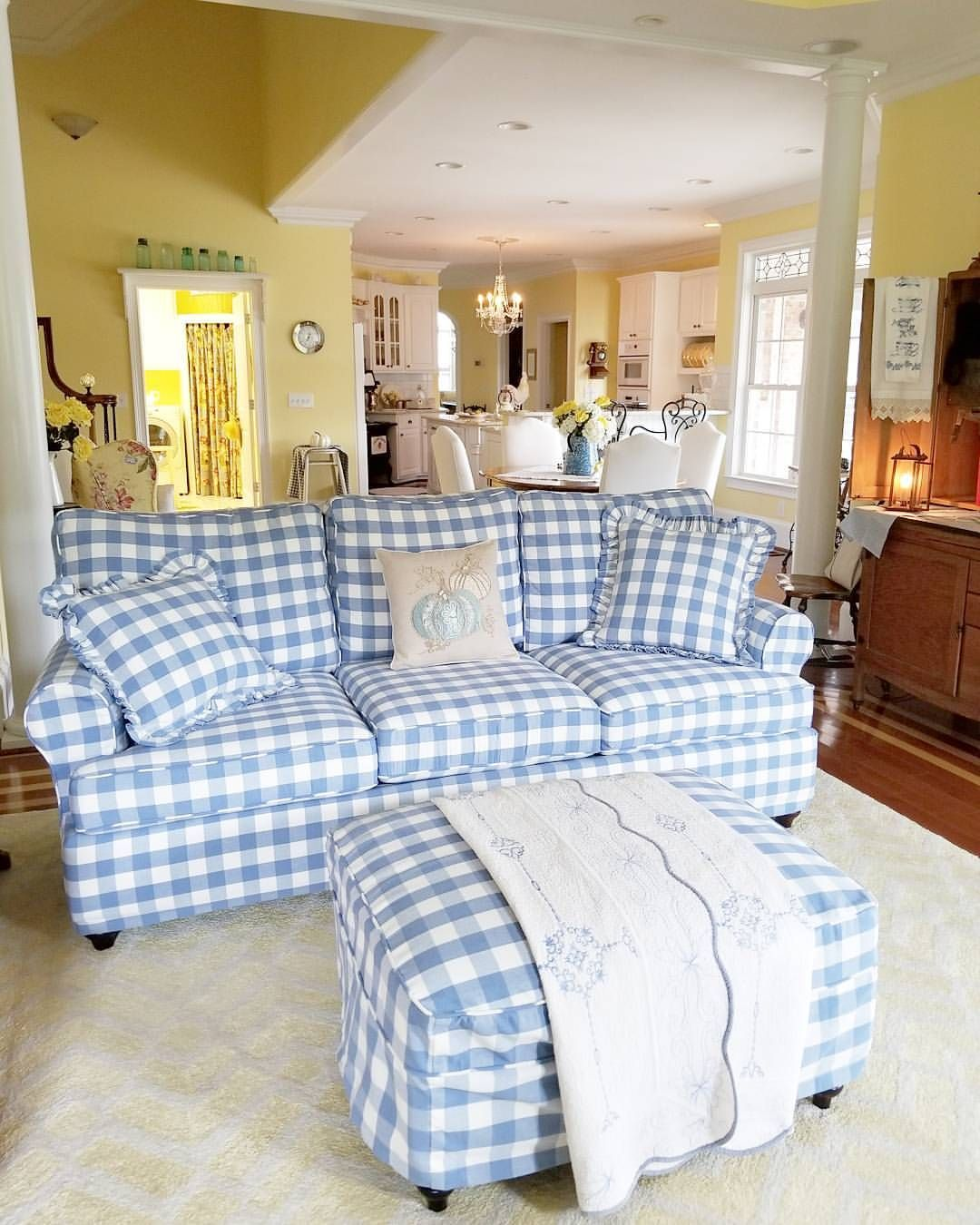 Blue And White Checkered Sofa. Country Chic