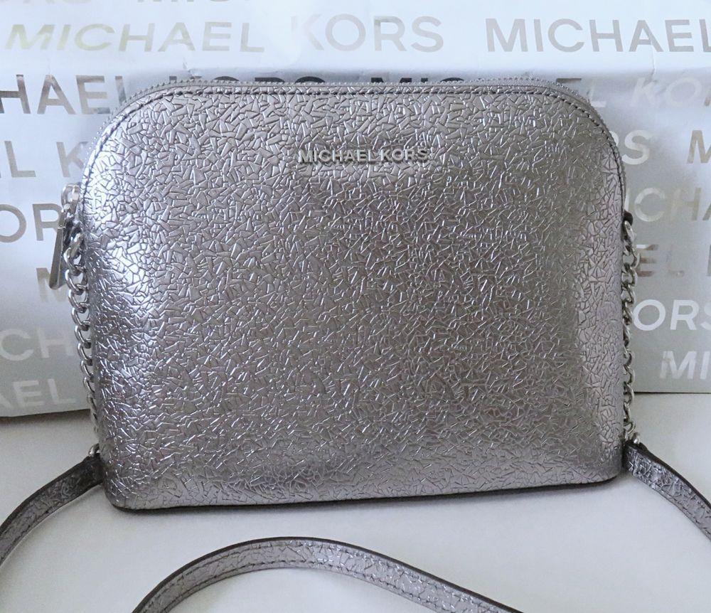 8d324003cca4 Michael Kors Large Dome Crossbody Light Pewter Silver NWT  MichaelKors   MessengerCrossBody