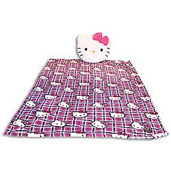 Plush toy, pillow and blanket all in one! Unzip Kitty's head to retrieve the cozy fleece blanket inside.