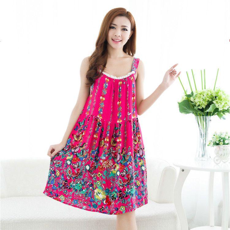 5b34c366d1 Women Cotton Nightgown Floral Sleep Dress Sleeveless Sleep Shirt Plus Size  Night Shirt Sexy Nightwear Casual Home Dress