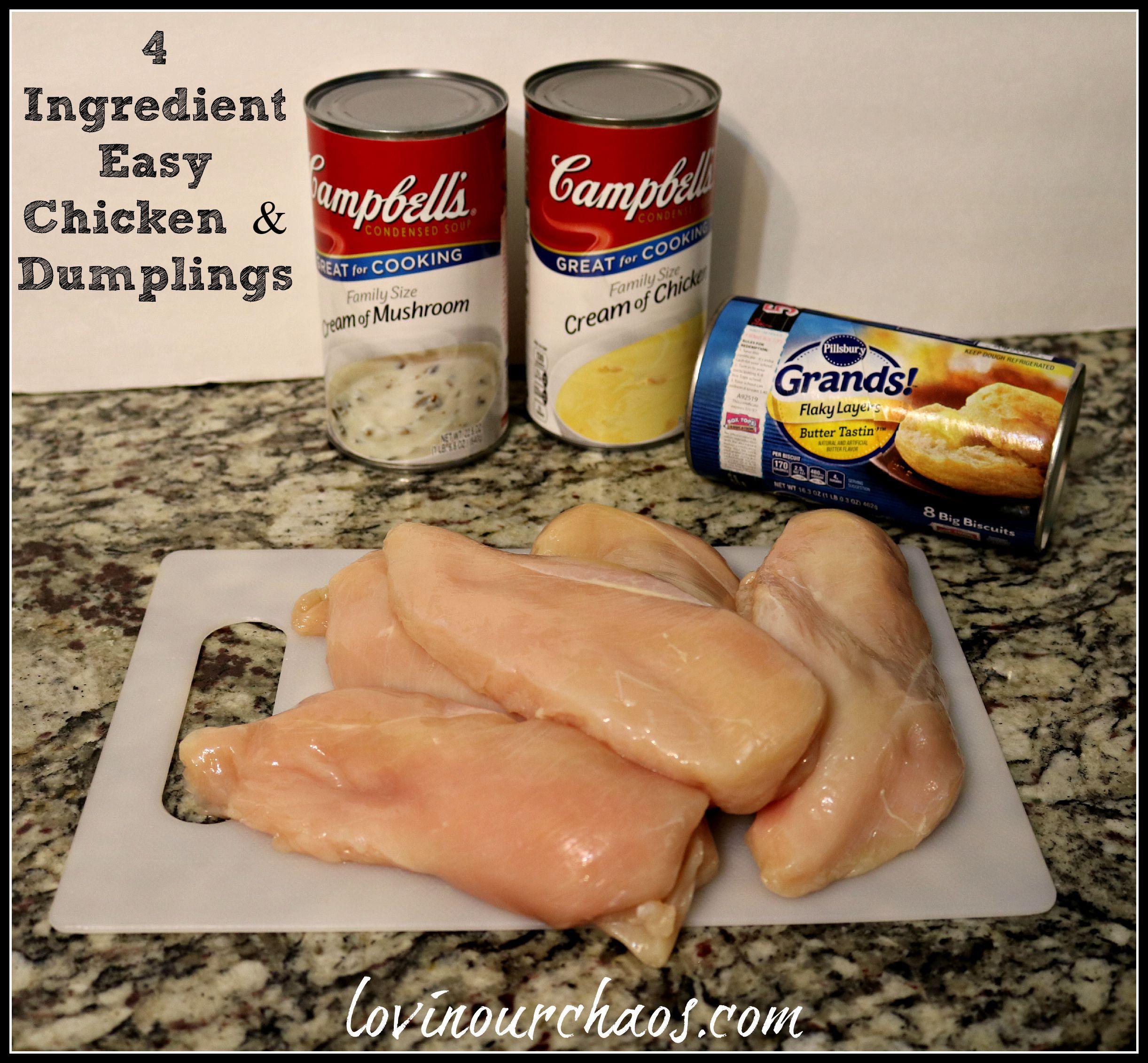 4 Ingredient Easy Chicken Amp Dumplings Easy Crockpot Chicken Crockpot Recipes Easy Chicken