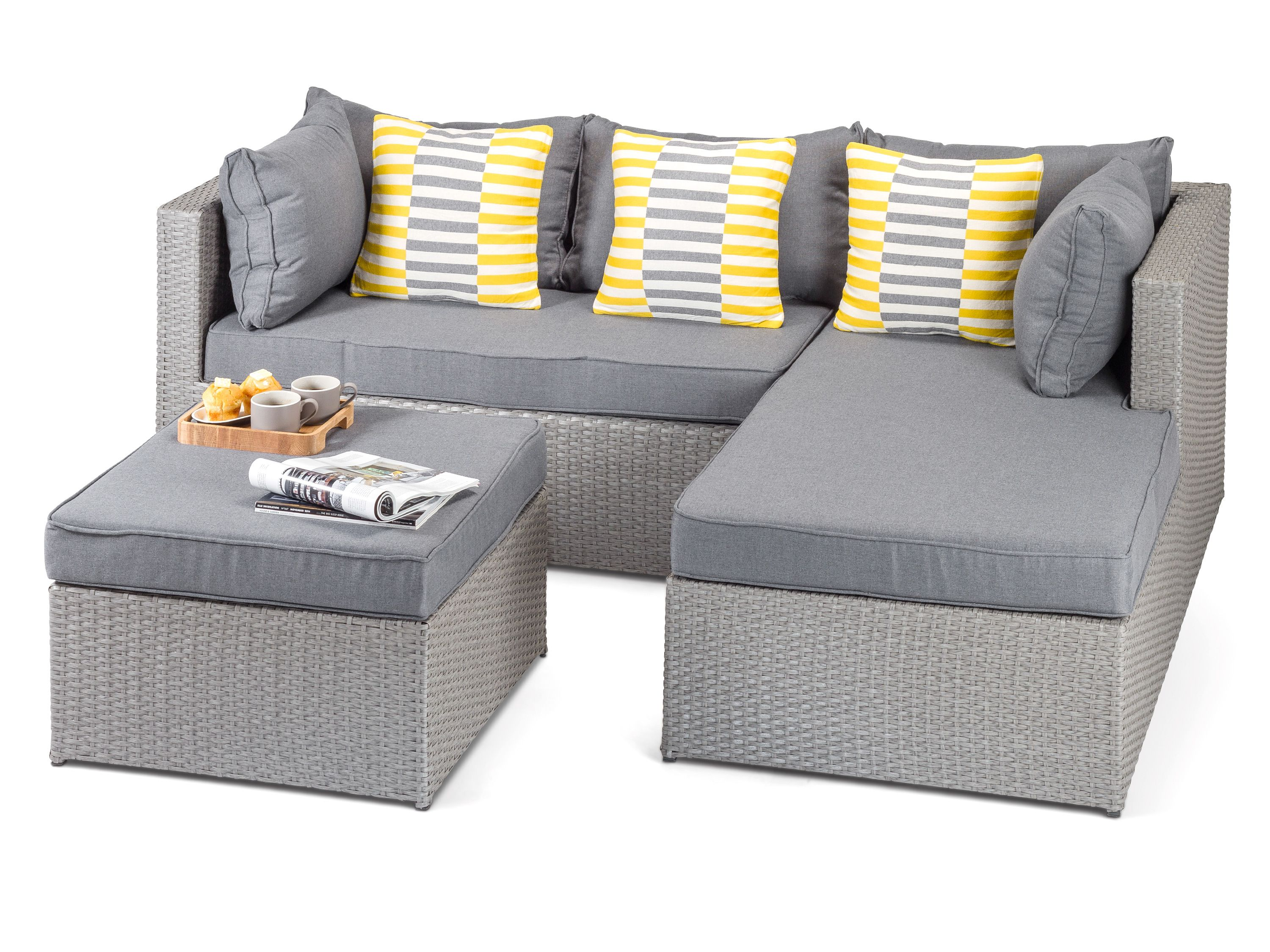 Calabria Grey Rattan 3 piece sofa set with footstool