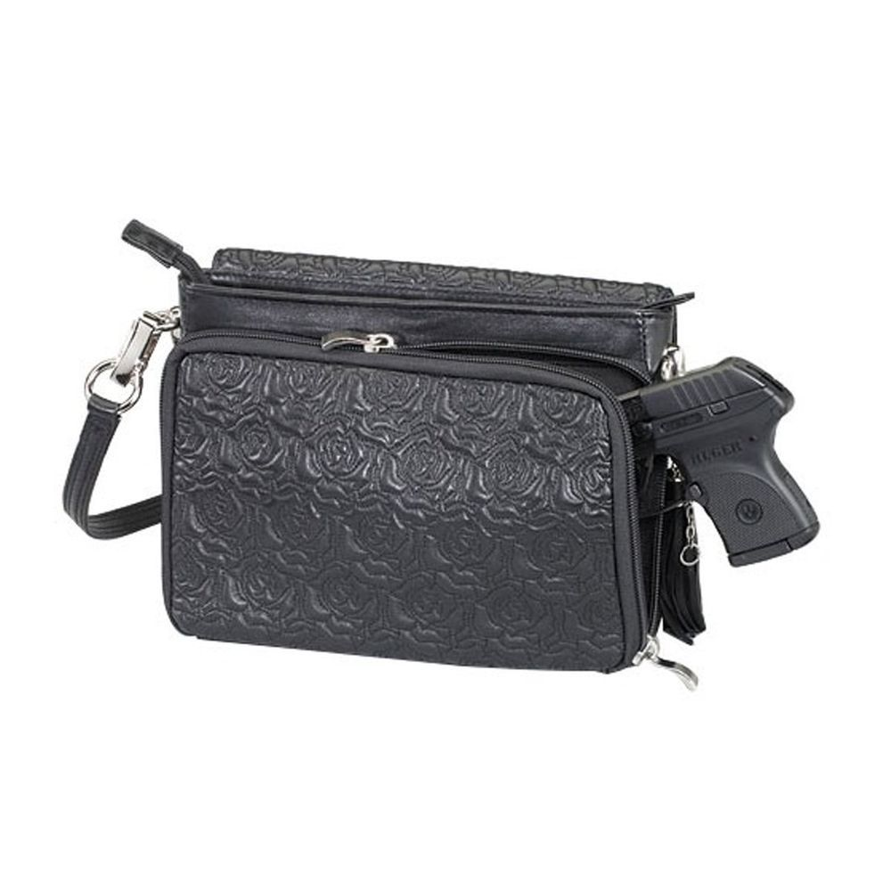 Concealed weapon purse black leather removable strap left