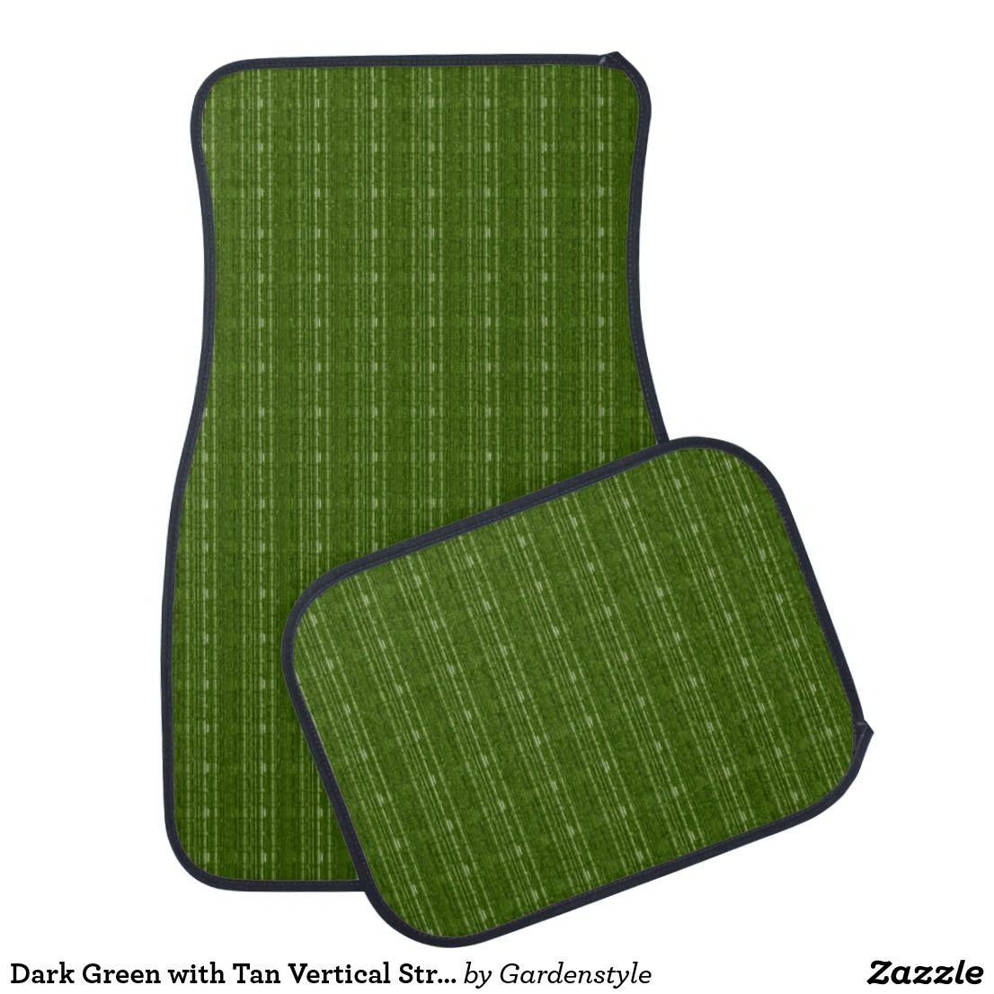 Dark green with tan vertical streak car mats stair