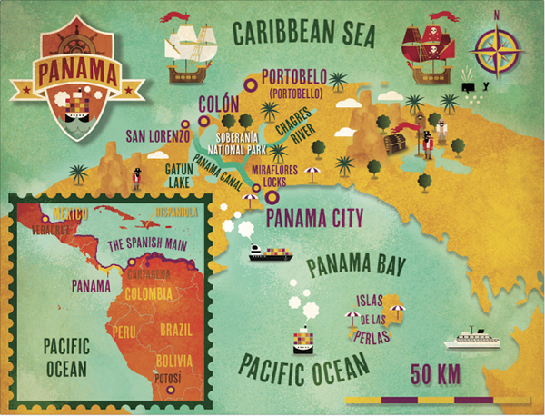 Lonely Planet Magazine Map Illustrations Lonely Planet Panama - Portugal map lonely planet