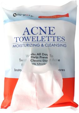 NU-PORE Acne Cleansing & Moisturizing Towelettes Bretanna - Witch Hazel Face & Body Toner Geranium Infused with Geranium Rose Hip Seed + Aloe Essential Oils - 2.25 oz.