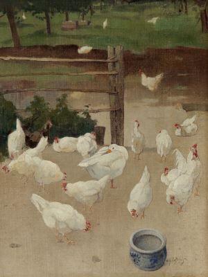 Evert Jan Ligtelijn (Amsterdam 1893-1975 Laren (N.H.)) A goose and chickens in the farmyard - Dutch Art Gallery Simonis and Buunk Ede, Netherlands.