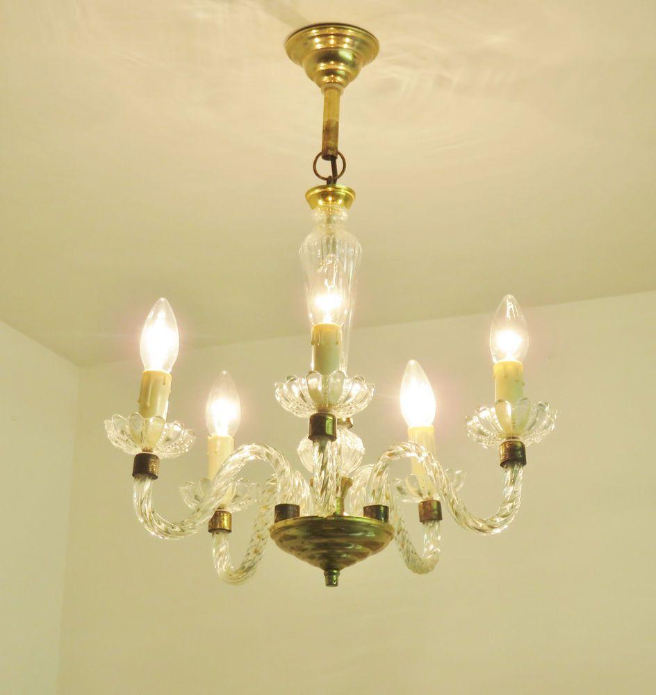 LOVELY VINTAGE MURANO STYLE CHANDELIER LIGHT LAMP FIVE ARMS LUSTRE ...:LOVELY VINTAGE MURANO STYLE CHANDELIER LIGHT LAMP FIVE ARMS LUSTRE MURANO  ANCIEN…,Lighting