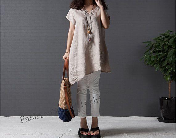 Khaki linen shirt short sleeve shirt linen dress casual loose shirt linen blouse linen tops plus size shirt F18
