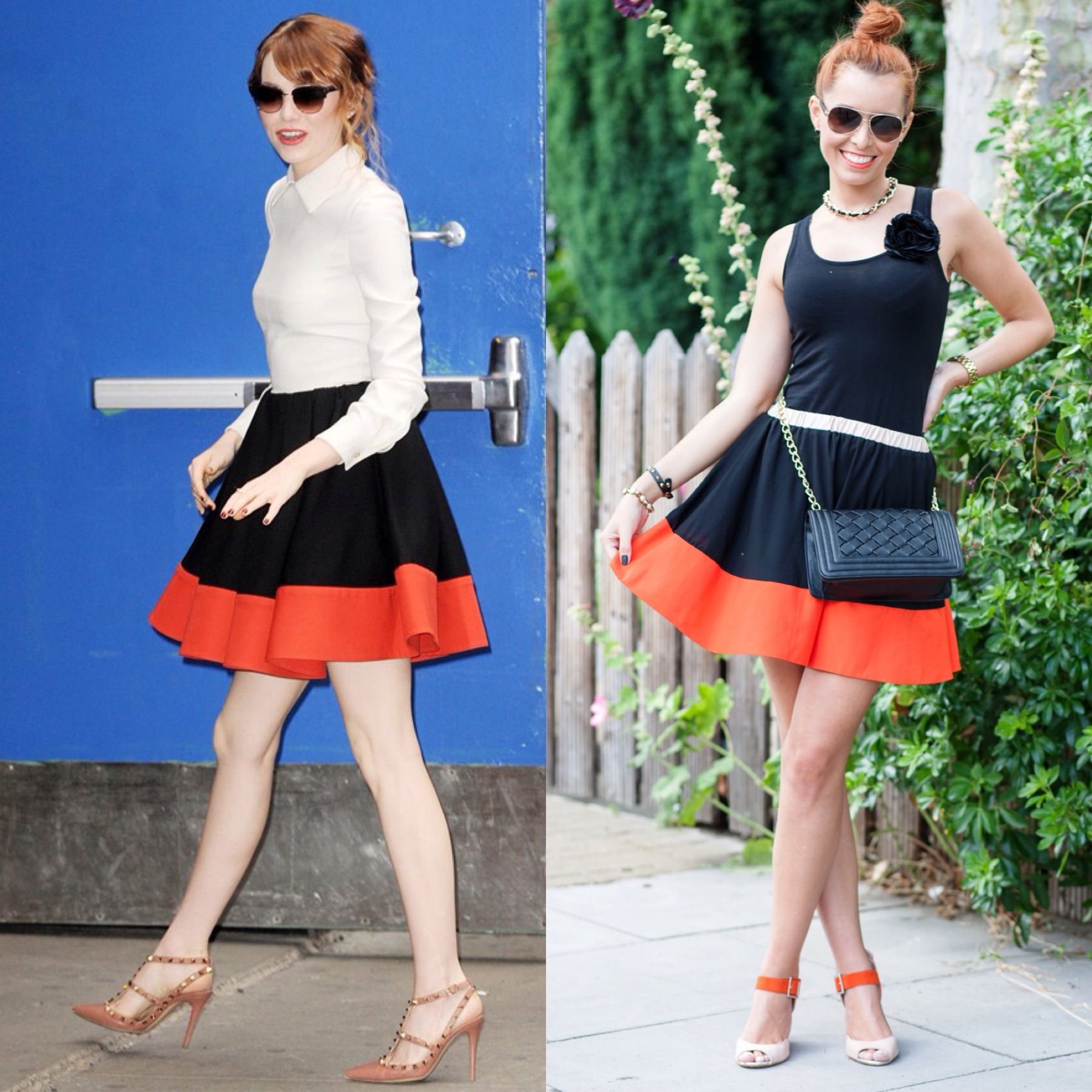@Emma Stone these days in head to toe @Maison Valentino! Another great idea on how to wear my 'almost-identical' skirt! Check out all the details of my look through the link below!   http://www.missstreetchic.com/2013/10/18/look-dia-detalhes-em-laranja-trend-street-chic/   #colourblock #orange #skirt #look #emmastone #valentino #laranja #saia #mscblog