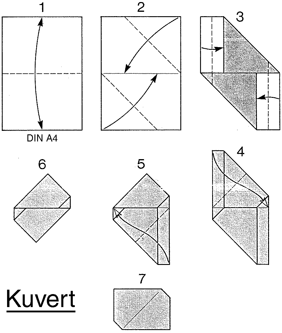 kuvert envelope from a4 paper origami origami paper folding kirigami pinterest a4 paper. Black Bedroom Furniture Sets. Home Design Ideas