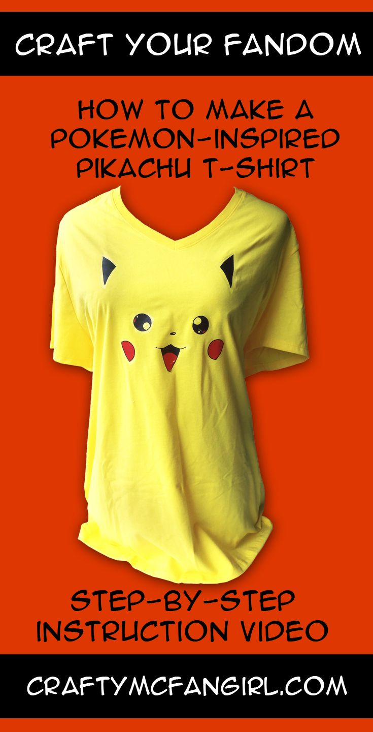 4c362ae4a Make a Pokemon DIY Pikachu t shirt. A fun & easy iron on transfer craft  tutorial with Step-by-Step instruction video. Gotta make them all! from ...