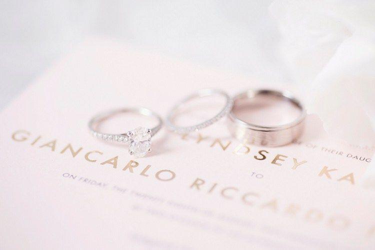 Rings Bands Diamond Oval Engagement Eternity Romantic Metallic Blush Wedding