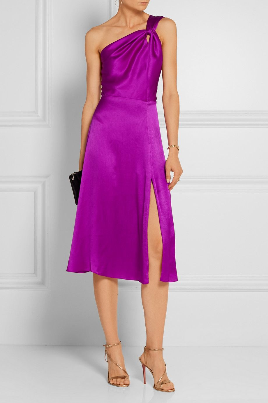 Purple silk-satin Concealed hook and zip fastening at back 100% silk ...