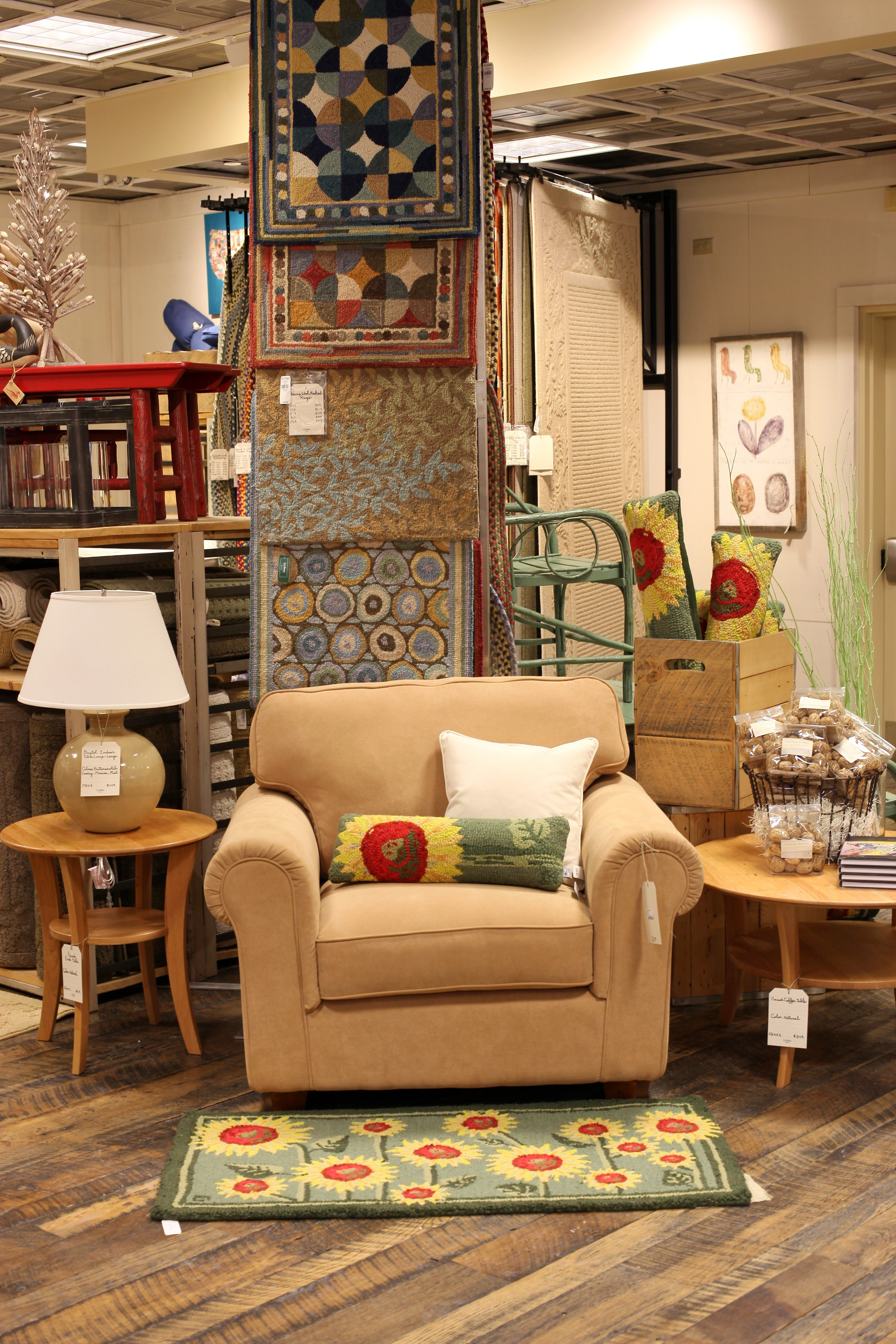 Wool rugs, tables, chairs, room accents at the L.L.Bean HOME store -