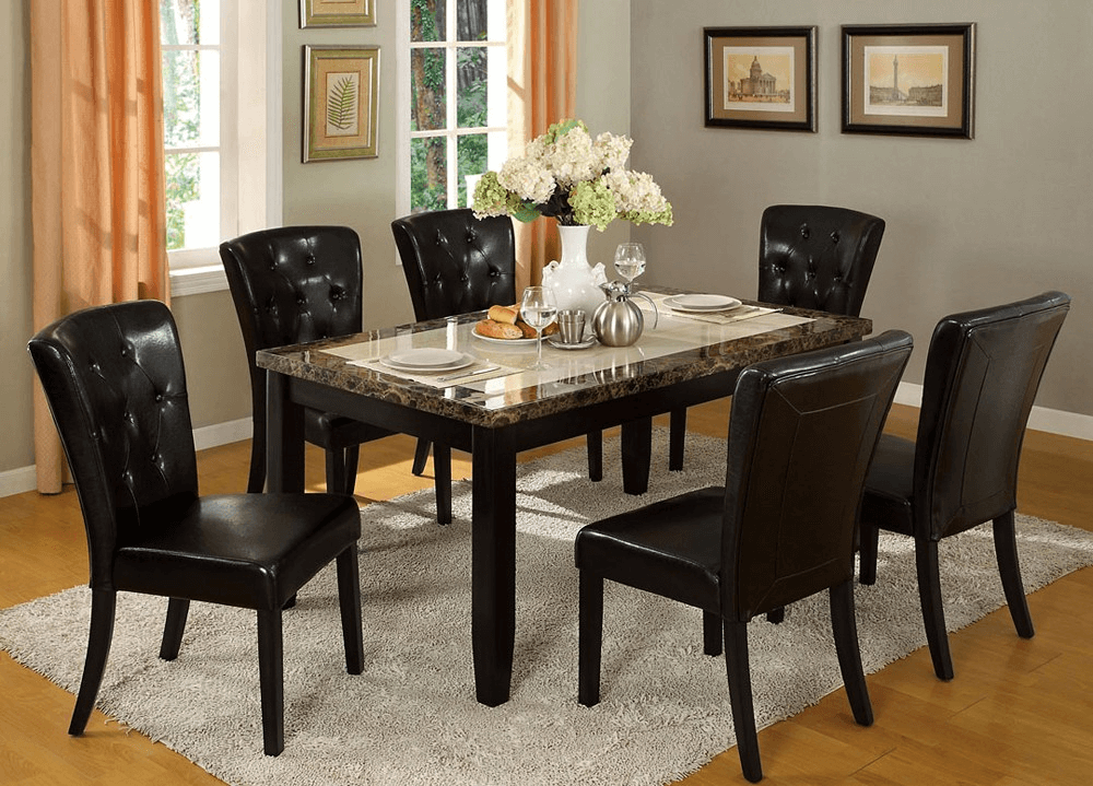 Marble Top Dining Table Room Decor Ideas With Flower Pot Nice