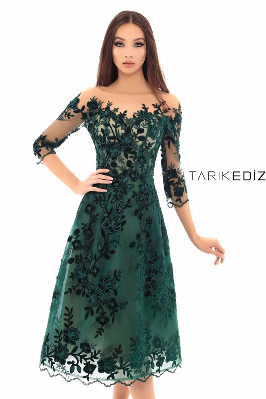 7ebded752f7 Tarik Ediz 93667 Изумрудное Кружевное Платье в 2019 г.