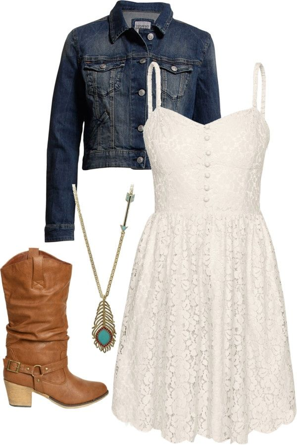 White Lace Dress Denim Jacket Brown Boots Long Turquoise Necklace Country Girls Outfits Country Outfits Cute Country Outfits