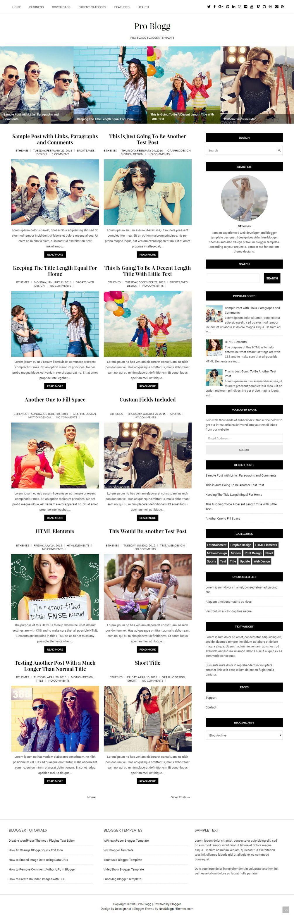 Pro Blogg Blogger Template | Blogger templates, Templates ...