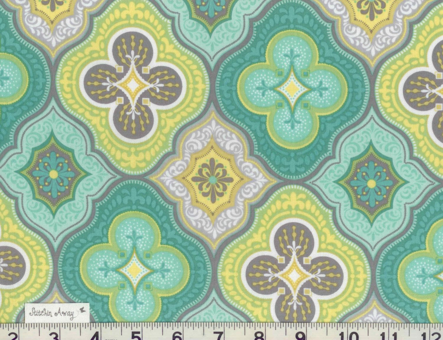 Morracan Medallion Charms Turquoise Gray Yellow Lime