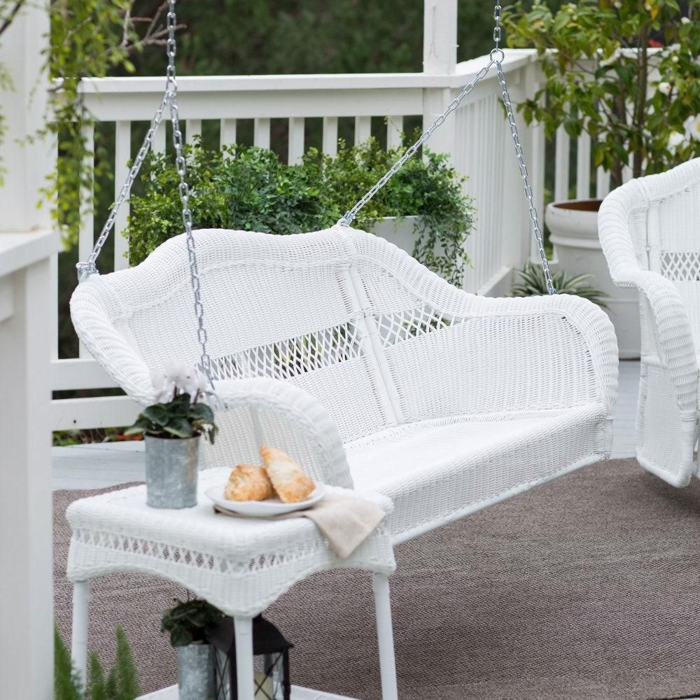 White resin wicker porch swing with hanging hooks comfort spring