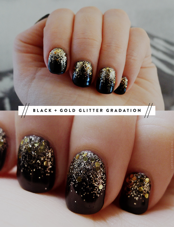 Just Paint Your Nails Black Add Gold Glitter To The Top Following Cuticle Take A Clean Brush And Drag It Downward