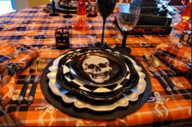 Spooky halloween table setting