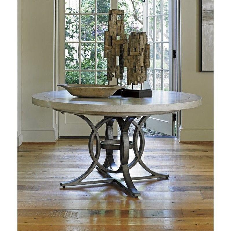 Lexington Oyster Bay Calerton Round Pedestal Dining Table In Oyster Dining Table Round Pedestal Dining Round Pedestal Dining Table