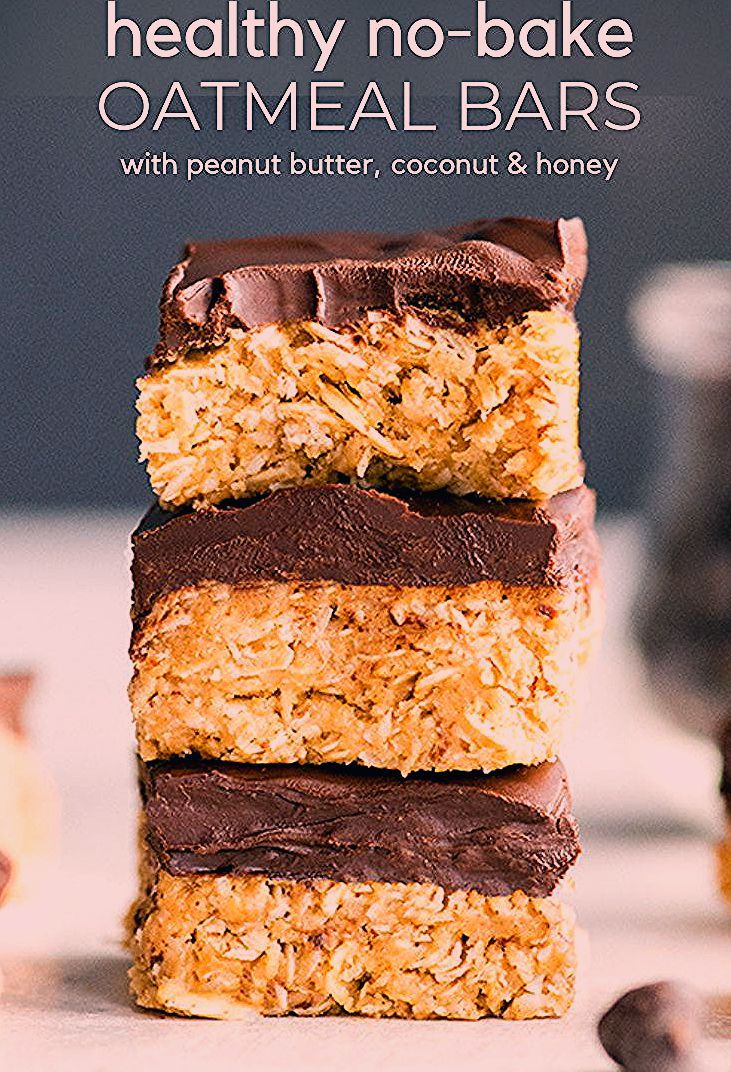 Photo of Healthy No-Bake Oatmeal Bars with Peanut Butter & Coconut