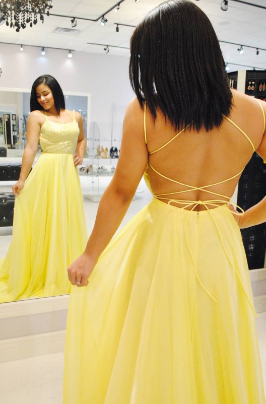 Princess Lace Up Back Yellow Long Prom Dress from dreamdressy