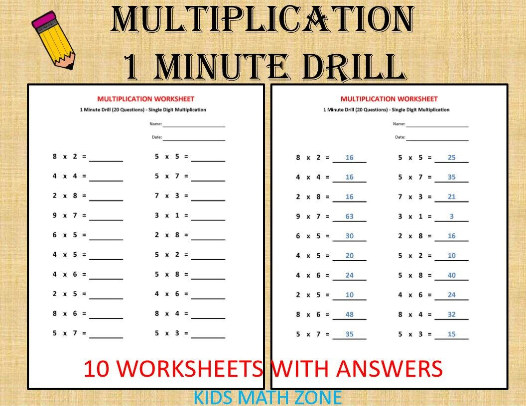 Excited To Share This Item From My Etsy Shop Multiplication 1 Minute D Math Addition Worksheets Kindergarten Addition Worksheets Kindergarten Math Worksheets