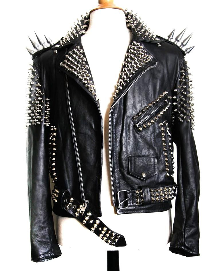 Handmade Women Black Colour Leather Jacket Silver Spiked Studded Leather Jacket Ebay In 2020 Studded Leather Jacket Leather Jackets Women Leather Jacket Street Style