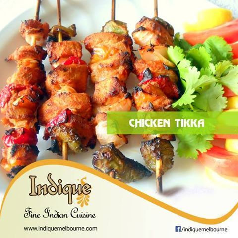 Chicken Tikka TEL: + (321) 802 6537   Chicken Tikka is one of the most popular chicken starter or appetizer from IndianCuisine.chiken cubes marinated in spices and then grilled. Don't miss it …. Indique Fine Indian Cuisine 2725 minton RD, West Melbourne, Fl 32904
